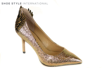 Katy Perry Starling Pointed toe high heel Court shoe. This is Gold Crinkle Metallic with Wing Detail on the back of the heel. Ireland Shoe Shops online, Shoe Style International, Location Wexford Gorey and Ireland