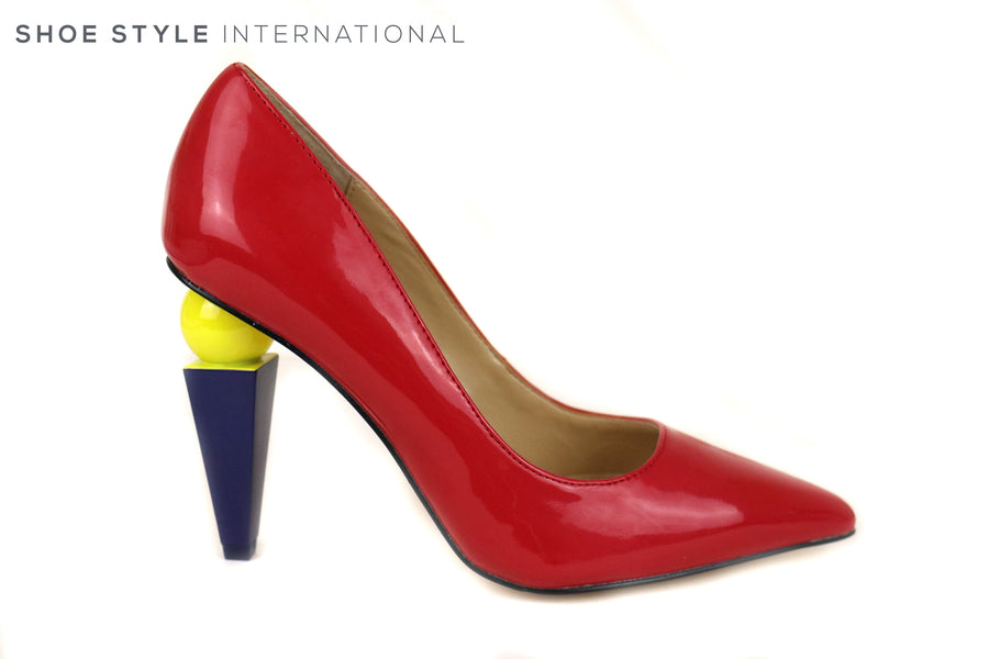 Katy Perry Memphis Court shoe High Heel with Sculpted high heel. This Red Patent leather with Yellow and Blue Sculpted heel is on trend this Autumn Winter, Ireland Shoe Shops online, Shoe Style International, Location Wexford Gorey and Ireland