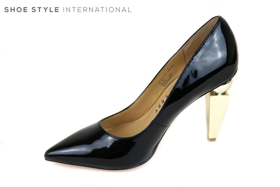 Katy Perry Memphis Court shoe High Heel with Sculpted high heel. This Black Patent leather with Gold Sculpted heel is on trend this Autumn Winter, Ireland Shoe Shops online, Shoe Style International, Location Wexford Gorey and Ireland