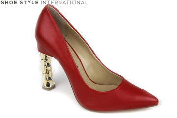 Katy Perry Suzanne High Heel Closed toe court shoe, The heel is gold with a chain detail. Block shoe colour: Red. Shoe Style International Wexford Gorey Ireland