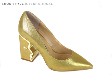 Katy Perry Celina Crinkled Leather in Gold Metallic Colour, This Pointed Block high heel has a gold trim around the inside of the heel in a Face Silhouette Shape, Ireland Shoe Shops online, Shoe Style International, Location Wexford Gorey and Ireland