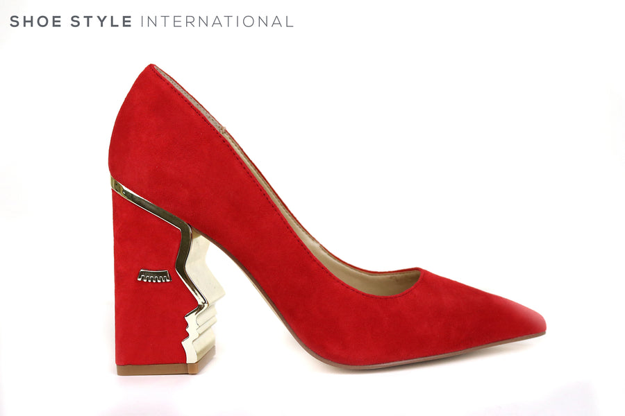 Katy Perry Celina, Bloch High Heel Court Shoe in Suede Red, The Block High Heel has an outline of Gold Mettalic in the shape of a Face Silhouette, Ireland Shoe Shops online, Shoe Style International, Location Wexford Gorey and Ireland