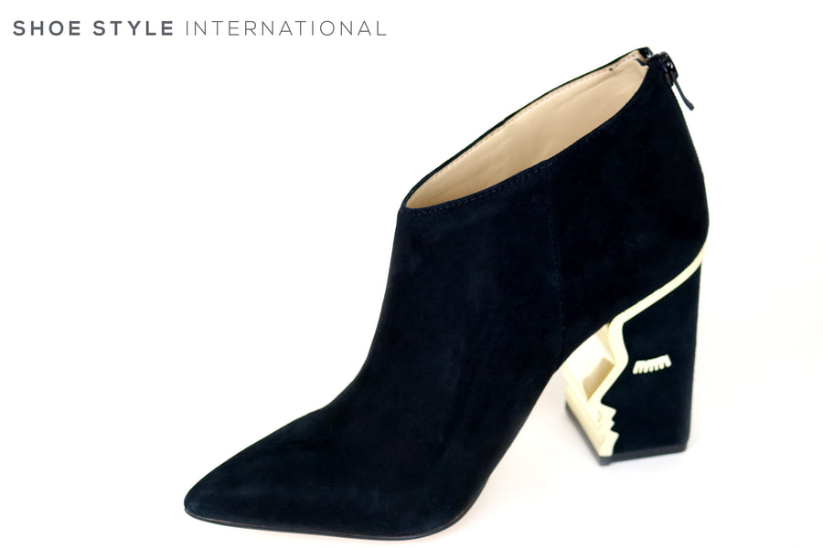 Katy Perry Gypsy Black Suede pointed toe bootie with Zip closing at the back, This Bootie has a Face Silhouette in the heel in a gold trim,Winter-Autumn-2018-Shoe_Shops-online-Shoe_Style_International-Wexford-Gorey-Ireland-Location