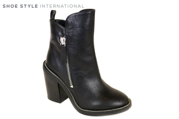 Kendall & Kylie Luke, Black Leather Block High Heel Ankle Boot with Zips to close at the side, Silver Chain Detail around the Trim Ireland Shoe Shops online, Shoe Style International, Location Wexford Gorey and Ireland