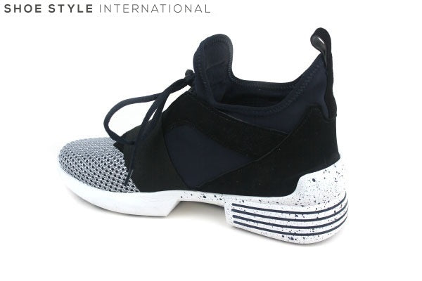 Kendall + Kylie Hi-top lace-up trainer. Colour Black/White. Shoe Style International Wexford Gorey Ireland