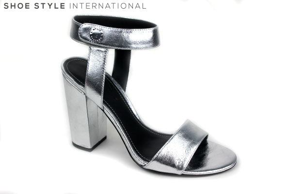 Kendall + Kylie Rowan, Open toe Sandals with ankle strap closing. Colour Metallic Sliver. Shoe Style International Wexford Gorey Ireland