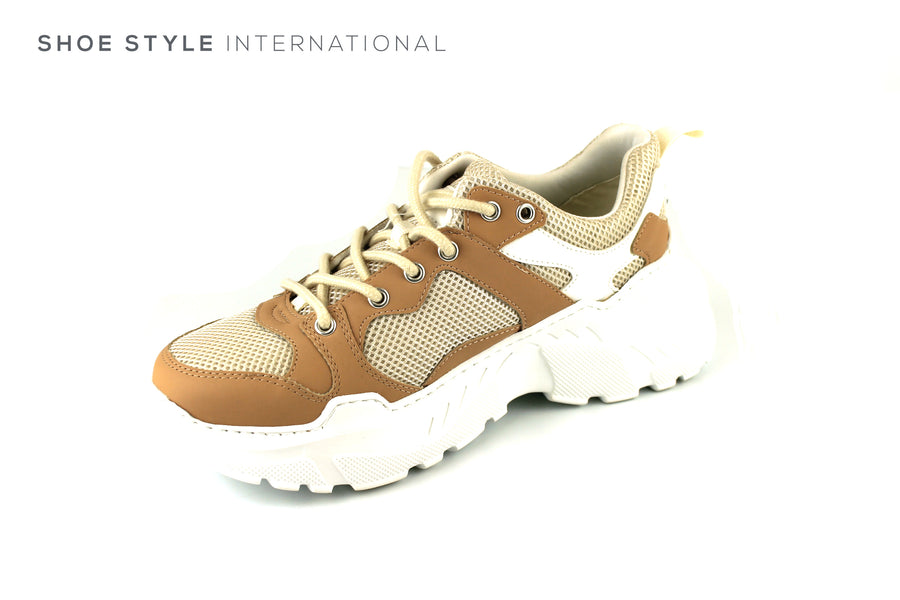 Kendall and Kylie Avenue, Lace Up Light Weight Sneaker in Cream and Beige Colour, Ireland Shoe Shops online, Shoe Style International, Location Wexford Gorey, Ireland