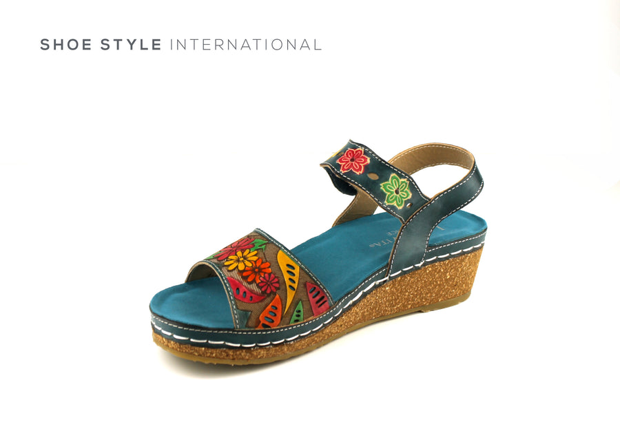 Laura Vita Shoes, Wedge Sandal in Blue Multi with Floral Detail, Velcro Straps to close, Shoe_Style_International-Wexford-Gorey-Ireland
