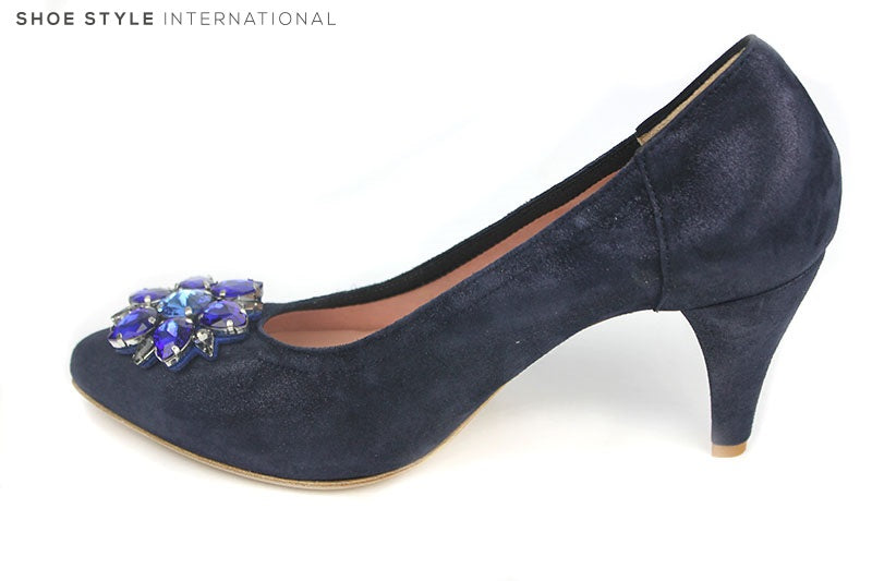 Le Babe 1366 high heel court shoe with broche detail at the front of the shoe. Occasion wear shoe. Colour Navy. Shoe Style International