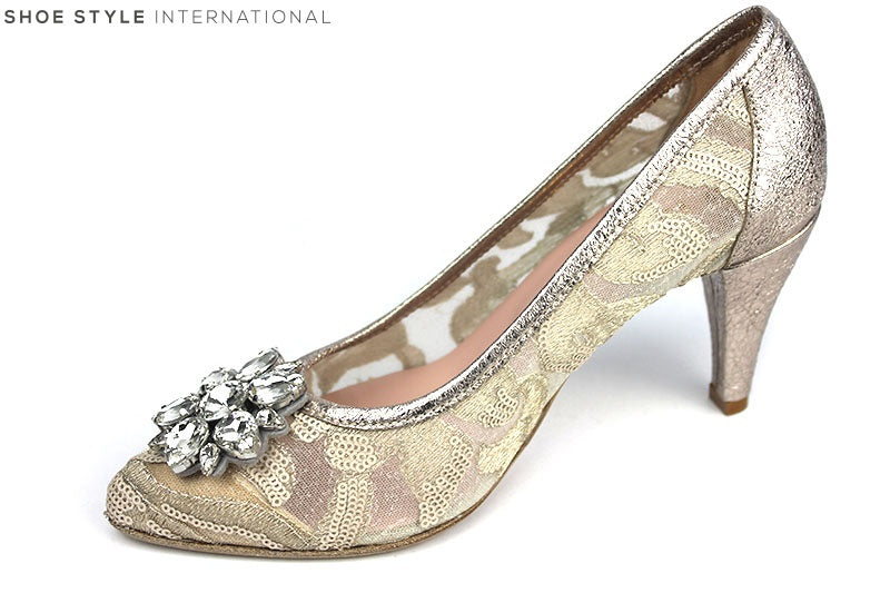 Le Babe 1354 Court shoe with cluster of diamonds at the front of the shoe.  Colour is Rose Gold. Shoe Style International
