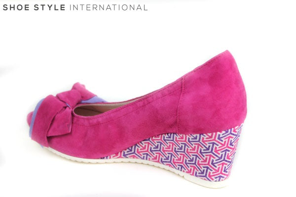 Le Babe 3012 Peep-toe wedge with bow detail. Wedge has a pattern design with colours pink / violet. Bow colours are pink / violet. Colour Pink. Shoe Style International Wexford Gorey Ireland