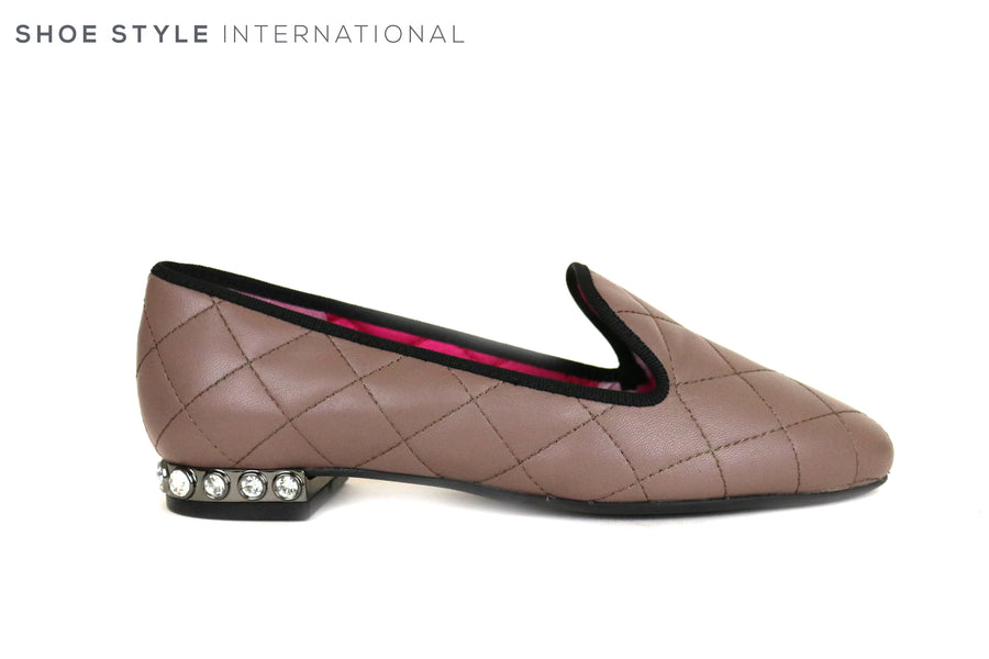 Le Babe 2795, Flat Slip-on loafer, this perfect Colour Taupe loafer has a stitched design in the leather which is in the same Colour Taupe as the leather, the Heel has diamante round studs going around the heel in one row, Ireland Shoe Shops online, Shoe Style International, Location Wexford Gorey and Ireland