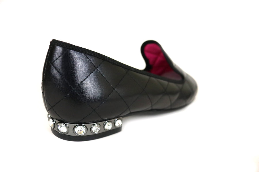 Le Babe 2795, Flat Slip-on loafer, this perfect Black loafer has a stitched design in the leather which is also black, the Heel has diamante round studs going around the heel in one row, Ireland Shoe Shops online, Shoe Style International, Location Wexford Gorey and Ireland