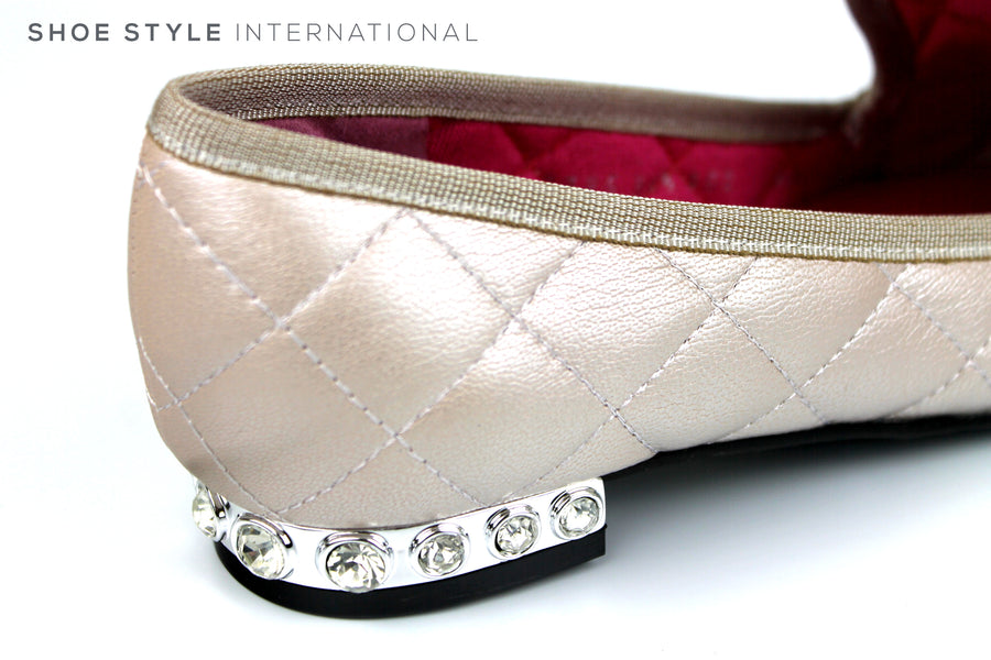 Le Babe 2795, Slip-on Closed toe flat loafer, Ballet Flat pump, Colour Dusty Pink in Leather with Diamante heel embellishment Ireland Shoe Shops online, Shoe Style International, Location Wexford Gorey, Ireland
