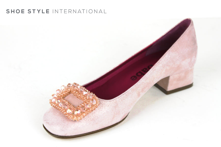 Le Babe 3202, Low Block Heel Pump shoe in Colour Rose, with Rose square Diamante detail on the toe, Ireland Shoe Shops online, Shoe Style International, Location Wexford Gorey, Ireland