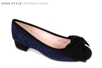 Le Babe 3432 Flat Ballet Pump Shoe, Material is Suede, Colour Blue, Bow detail at the front of the shoe in Colour Black, around the shoe there is a strip detail in Blue and Black, Ireland Shoe Shops online, Shoe Style International, Location Wexford Gorey and Ireland