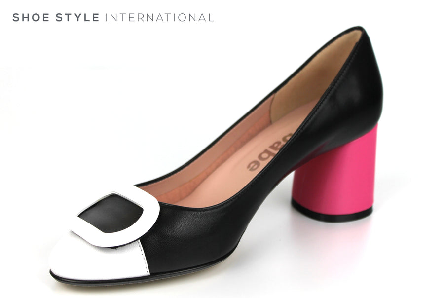 Le Babe 3540 Medium Block Heel in Pink Colour with Black Leather shoe with white detail on the front, Ireland Shoe Shops online, Shoe Style International, Location Wexford Gorey, Ireland