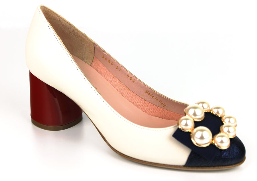 Le Babe 3580S8, Classic Mid Heel Heght in Cream with a Block Heel in Red and Pearl Embellishments, Ireland Shoe Shops online, Shoe Style International, Location Wexford Gorey, Ireland