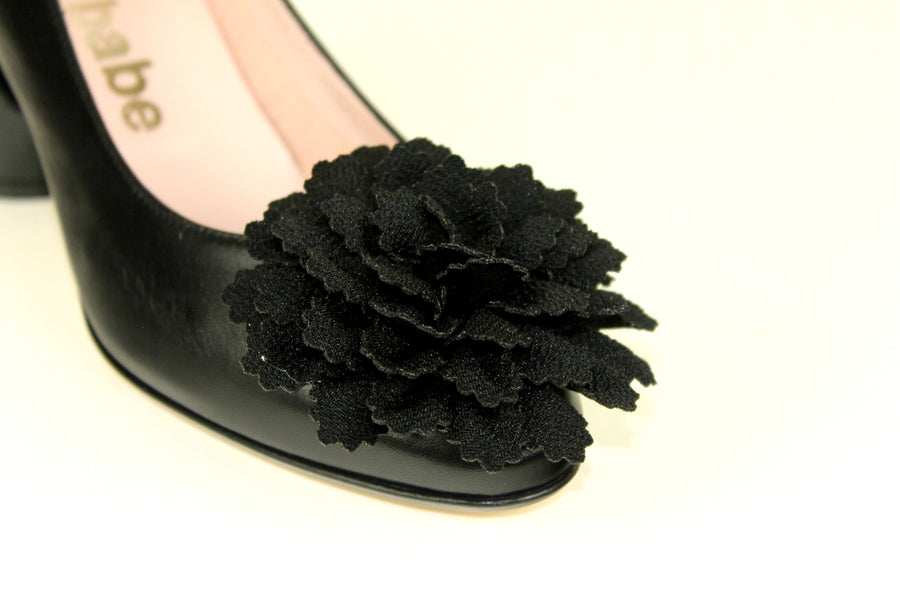 Le Babe 3589S9, Classic Mid Heel Height in Black with a Block Heel and with a Flower embellishment, Ireland Shoe Shops online, Shoe Style International, Location Wexford Gorey, Ireland
