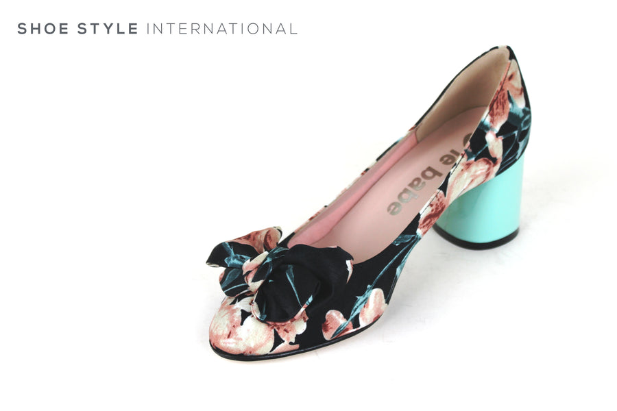 Le Babe 3593, Meduim block heel with Flower design print and bow detail, slip-on, occasion wear,Ireland Shoe Shops online, Shoe Style International, Location Wexford Gorey, Ireland