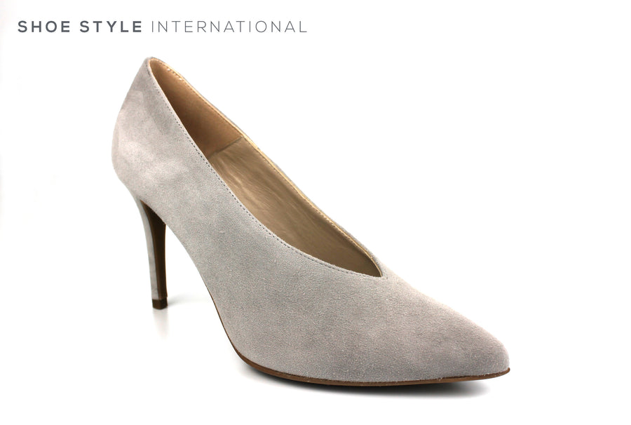 Marian 3701, High Heel Court shoe with a pointed toe in Light Grey in Suede Spring-Summer-2019 -Shoe_Shops-online-Shoe_Style_International-Wexford-Gorey-Ireland