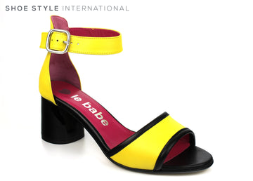 Le Babe 4601, Black Block Heel with Open Toe Sandal and Ankle Strap to close, Colour Lemon Yellow, Ireland Shoe Shops online, Shoe Style International, Location Wexford Gorey, Ireland