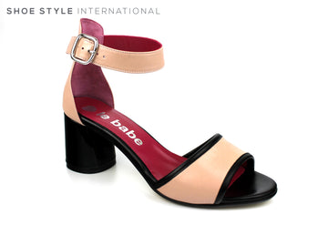 Le Babe 4601, Black Block Heel with Open Toe Sandal and Ankle Strap to close, Colour Blush, Ireland Shoe Shops online, Shoe Style International, Location Wexford Gorey, Ireland