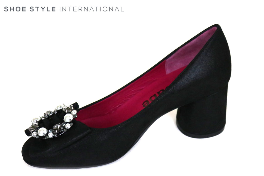 Le Babe 3557, Round Block Low Heel in Black suede, at the top of the shoe their is diamate embellishments in Silver and Pewter, Ireland Shoe Shops online, Shoe Style International, Location Wexford Gorey and Ireland