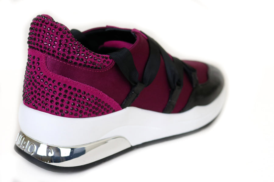 Liu Jo Karlie 03 Fuxia Sneaker with Black laces, Fuxia embellishments at the back, Ireland Shoe Shops online, Shoe Style International, Location Wexford Gorey and Ireland