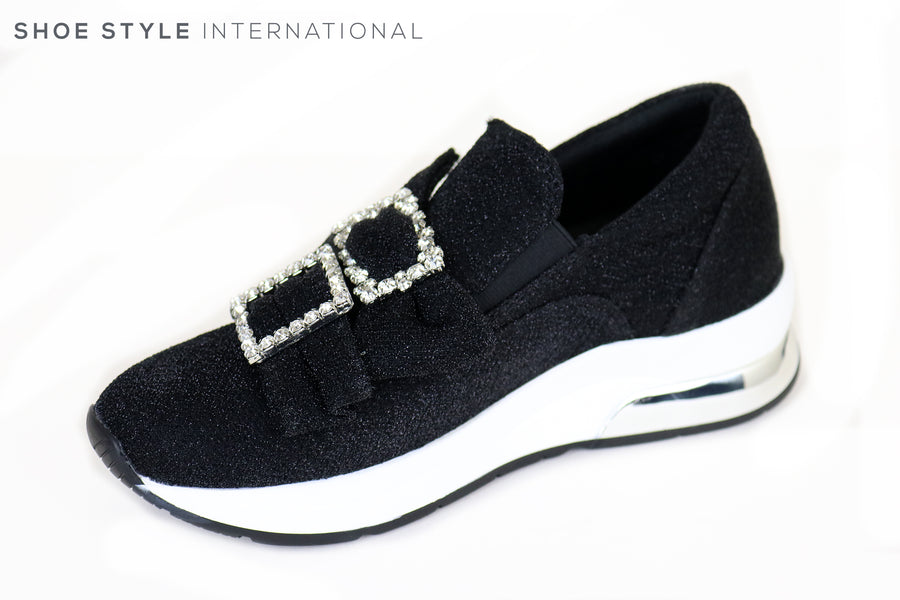 Liu Jo Karlie po, Slip on Trainer with Bow detail, colour Black with Silver Diamante detail in squares, Ireland Shoe Shops online, Shoe Style International, Location Wexford Gorey and Ireland