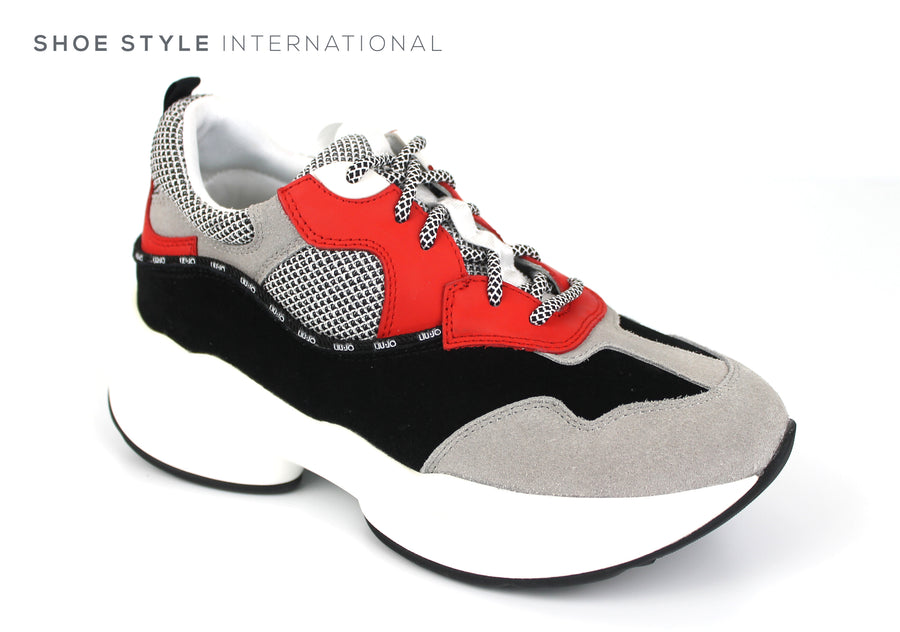 Liu Jo Runners Sneakers Jog 06 Fashionable Runner Colour Red Black Grey Laceup Trainers, Ireland Shoe Shops online, Shoe Style International, Location Wexford Gorey, Ireland