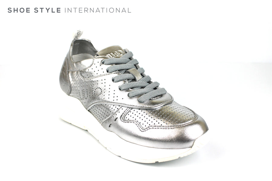 Liu Jo Karlie 14 Mettalic Silver Leather Trainers with Laces to close, Spring-Summer-2019 -Shoe_Shops-online-Shoe_Style_International-Wexford-Gorey-Ireland