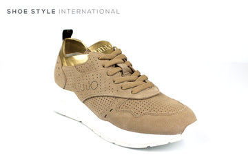 Liu Jo Karlie 14 full suede Laceup Sneaker in Sand Color, Ireland Shoe Shops online, Shoe Style International, Location Wexford Gorey, Ireland