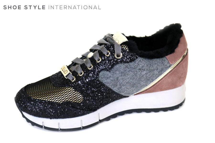 Liu Jo, Gigi 02 Black / Rose Colour, Lace-up Runner with Glitter detail, Ireland Shoe Shops online, Shoe Style International, Location Wexford Gorey and Ireland