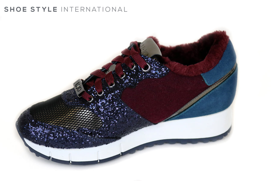 Liu Jo Gigi 02, Colour Blue / Rose Lace up Runner with Glitter detail, Ireland Shoe Shops online, Shoe Style International, Location Wexford Gorey and Ireland