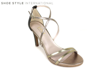 Lodi Inriko, High Heel Sandal open-toe with an ankle strap to close. Colour Gold. Shoe Style International, Wexford, Gorey Ireland