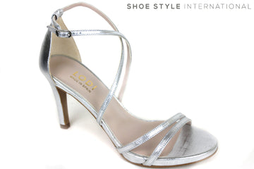 Lodi Inriko, High Heel Sandal open-toe with an ankle strap to close. Colour Silver. Shoe Style International, Wexford, Gorey Ireland