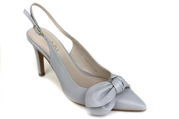 Lodi Raudo, Slingback high heel with a pointed toe and bow detail at the front of the shoe. Colour is Light Grey, Shoe Style International Wexford Gorey Ireland