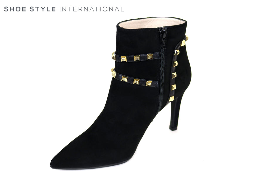 Lodi Rubrica, High Heel Black Suede Booty with Pointed toe and Gold Studded embellishments, Ireland Shoe Shops online, Shoe Style International, Location Wexford Gorey, Ireland