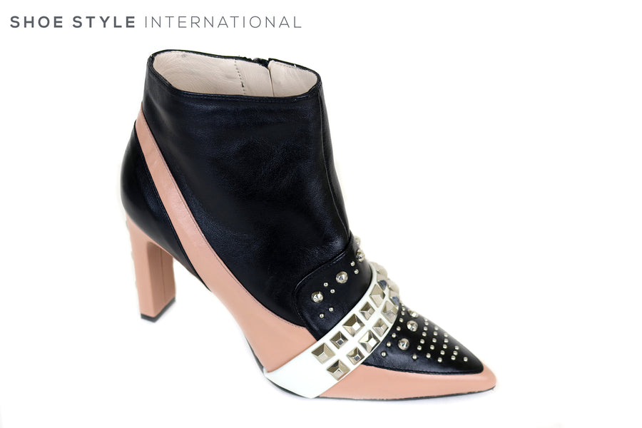 Lodi Siula, Pointed Toe Booty with side Zip Closure, Colour Nude, Black with White strip across instep, Silver stud design, Occasion wear shoes, Ireland Shoe Shops online, Shoe Style International, Location Wexford Gorey, Ireland