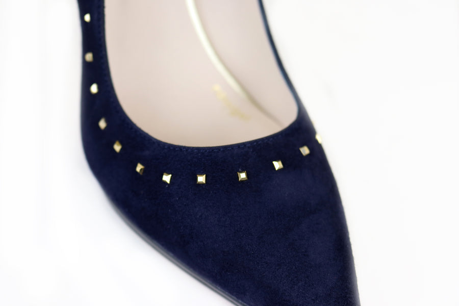 Lodi Vaita, Classic Closed Toe Court shoe with a Pointed toe in Navy Suede with Gold Stud detail, Ireland Shoe Shops online, Shoe Style International, Location Wexford Gorey, Ireland