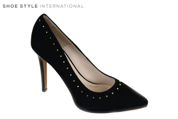 Lodi Vaita, Classic Closed Pointed Toe Court Shoe in Black with Gold Stud design, Material Suede, reland Shoe Shops online, Shoe Style International, Location Wexford Gorey, Ireland