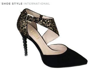 Lodi Vanion, High Heel Pointed toe, Closed in Toe and Back, Colour Black Suede with Sphere designed heel, Adjustable strap across the foot in Black with Golden Geometric design, Ireland Shoe Shops online, Shoe Style International, Location Wexford Gorey, Ireland