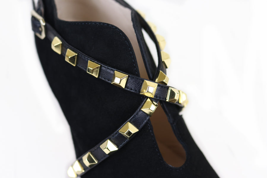 Lodi High Heel Booty in Black Suede with Gold Studded detail, Ireland Shoe Shops online, Shoe Style International, Location Wexford Gorey, Ireland