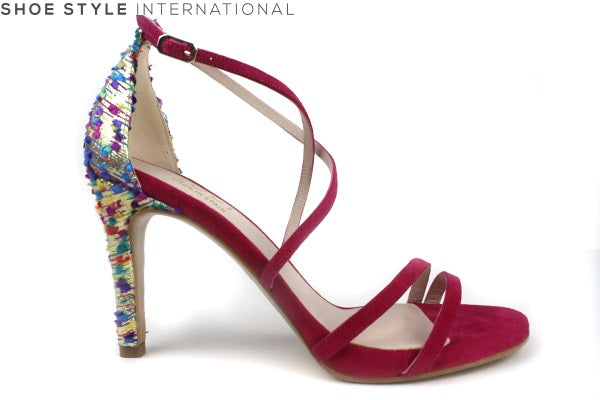 Lodi Inriko Te, high heel open toe sandal with ankle strap, Colour Pink. Shoe Style International
