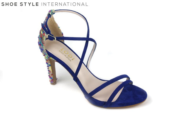 Lodi Inriko Te, high heel open toe sandal with ankle strap, Colour Blue. Shoe Style International