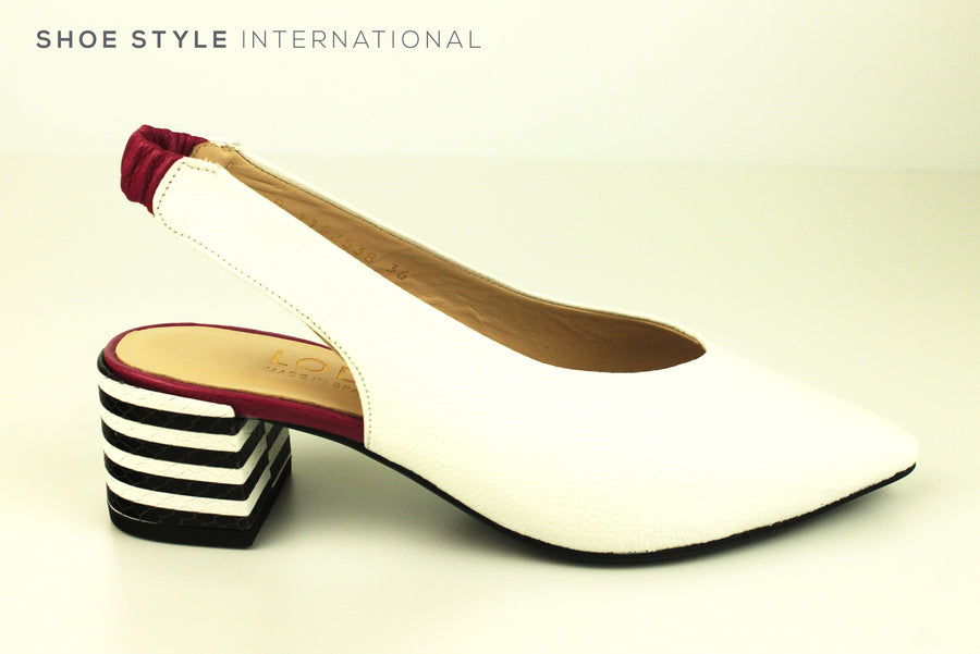 Lodi Cesar Gor , Mid Heel slingback pump in White Leather, Closed Toe, Ireland Shoe Shops online, Shoe Style International, Location Wexford Gorey, Ireland