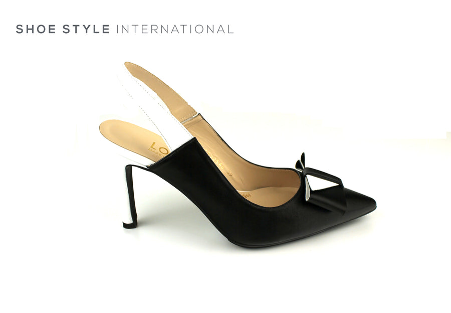 Lodi Shoes, Lodi High Heel Shoes, Slingback High Heel in Black White Colour, Shoe_Style_International-Wexford-Gorey-Ireland