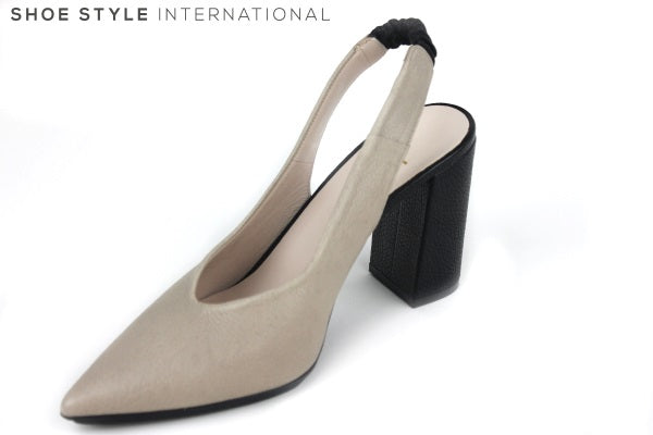 Lodi Rinatio is a pointed closed toe slingback block heel. Colour is Taupe and block heel is black. The Slingback is elasticated. Perfect shoe for any occasion dress up or down. Shoe Style International, Wexford, Goreyy, Ireland