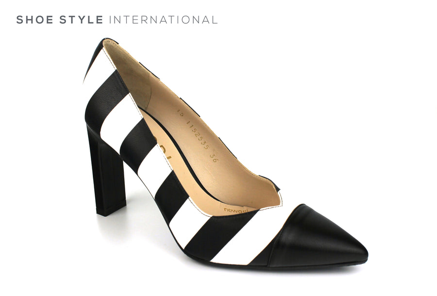 Lodi Solvo RI High Heel Pointed toe with Black White Leather Strips, Ireland Shoe Shops online, Shoe Style International, Location Wexford Gorey, Ireland